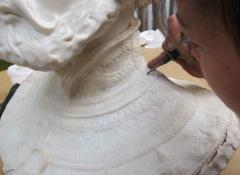 Portrait sculpture marble resin, seam removal. Sculpture fabrication South Africa