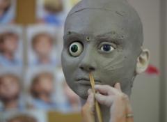 Sculpting with custom cast eyeballs