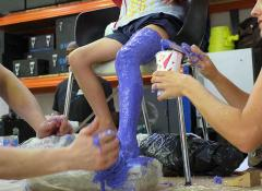 Moulding a childs leg, Special effects Fabrication, Fabricated body doubles