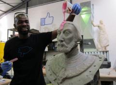Portrait sculpture into silicon mould, Sculpture fabrication South Africa