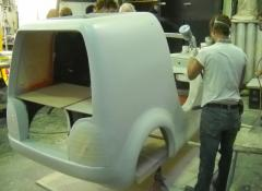 Spray work finishes, the Jacobs car