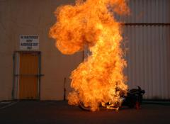 Exploding Harley Davidson. Pyro and explosive effects, Cape Town