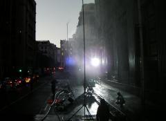 Rain towers, rain in the city at night